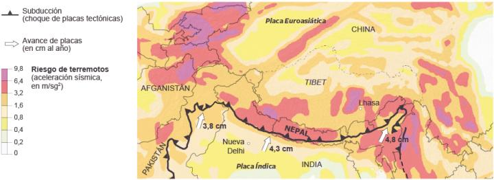 Figura 2: Riesgo de terremotos en la zona de colisión entre las placas índica y euroasiática. Fuente: http://elpais.com/.